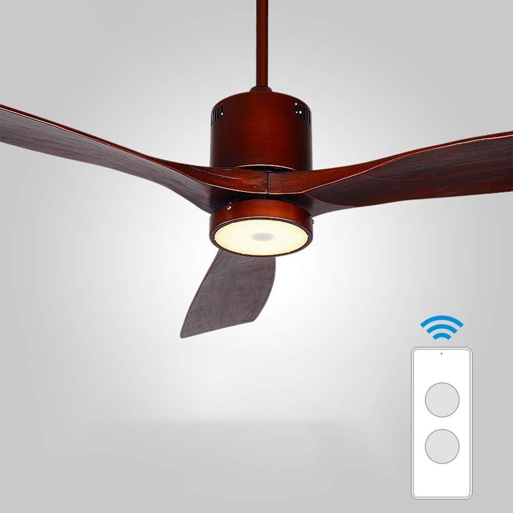 Z-XLIN Ventilador de techo exquisito, 52 pulgadas Ventilador de techo de luz con control remoto controlado minimalista moderno ventilador de estilo luces LED, motor de la CC robustas 3 hojas de madera