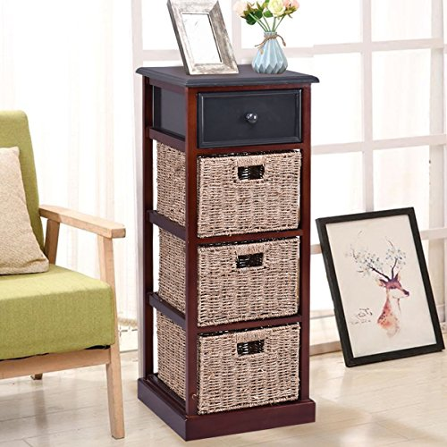 Giantex Nightstand W/ 1 Drawer and Baskets Bins Wooden Frame Bedside Sofa Table Organizer Home Bedroom for Living Room Storage Organizer Shelf Cubbies Furniture Red Brown End Table (37.4''H)