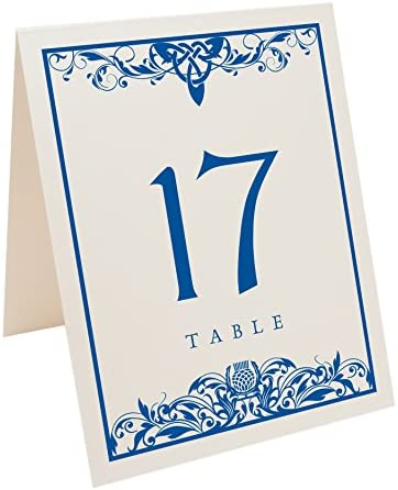 Documents and Designs Scottish Thistle Table Numbers Select Color Quantity , Champagne, Royal Blue, 1-65, Perfect for a Wedding, Party, Restaurant, or Special Event