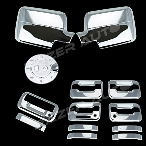 Razer Auto Chrome Mirror Cover (Will Not Fit XL, STX Or 04 Heritage), 4 Door Handle Cover with Keypad and with Passenger Keyhole, Tailgate, Gas Cover for 04-08 Ford F150