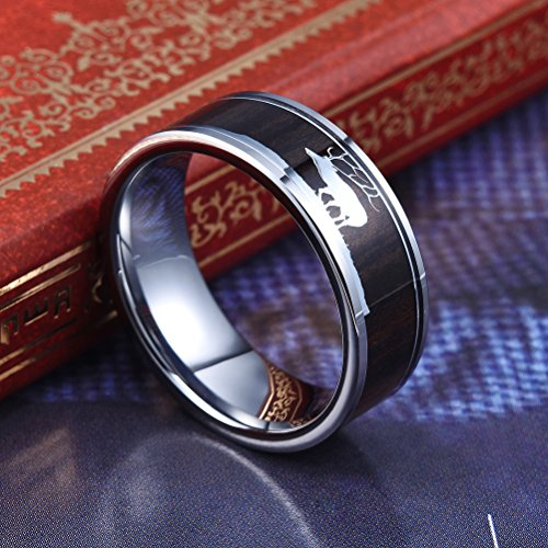 Three Keys Jewelry 8mm Tungsten Wedding Ring with Ebony Black Sandalwood Antler Deer Family Inlay Hunting Ring Wedding Band Engagement Ring Size 9.5 by Three Keys Jewelry (Image #2)