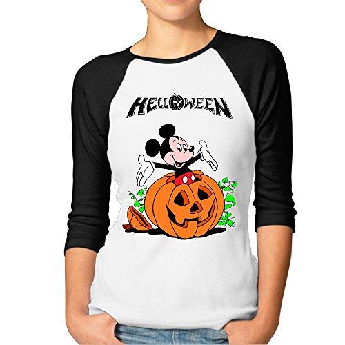 DonSir Hello Halloween Women 3/4 Sleeve Raglan Tshirt Black M -