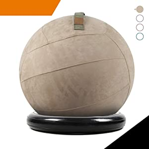 Sport Shiny Balance Ball Chair Pro,Flexible Seating Set,Stability Yoga Ball with Machine Washable Slipcover,Ring Base Kit,Ergonomic Exercise Ball Chair,Quick Air Pump Included