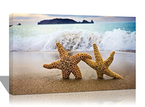 Purple Verbena Art 10''x14'' Starfishes Shell Blue Sea on Beach Seascape Pictures Photo Prints on Canvas Modern Home Decor Wall Art, Giclle Stretched And Framed Wall Artwork Picture For Living (Sea Shell Art)