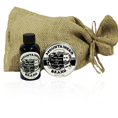 Pre-Shave Oil & Post -Shave Balm Combo by Mountaineer Brand: Eucalyptus Scent-Soften before and Soothe after shaving ()