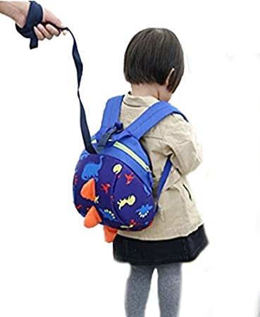1f46f6664b Amazon.com   Toddler Kids Child Cute Cartoon Animal Dinosaur Anti-lost  Backpack Nursery Kindergarten Preschool Daypack with Long Safety Harnness  Strap