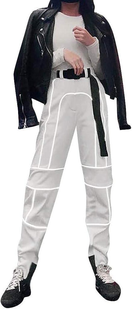 Risthy Pantalones Reflectante De Invierno Hip Hop Jogger Para Mujer Pantalones Streetwear Suelto Informales Deporte Electronica De Oficina Accesorios