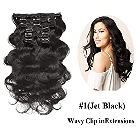 Urbeauty 12″ Short Wavy Clip in Human Hair Extensions Jet Black 7Pcs/70g Full Head Body Wave Remy Clip in Virgin Hair Extensions Triple Weft