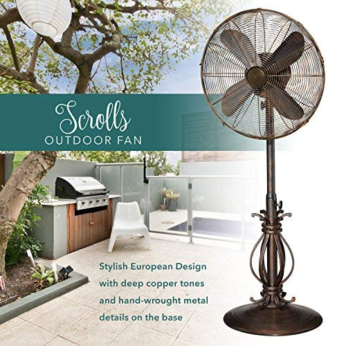 Designer Aire Oscillating Indoor/Outdoor Standing Floor Fan for Cooling Your Area Fast - 3-Speeds, Adjustable 40-51 Inches in Height, Fits Your Home Decor