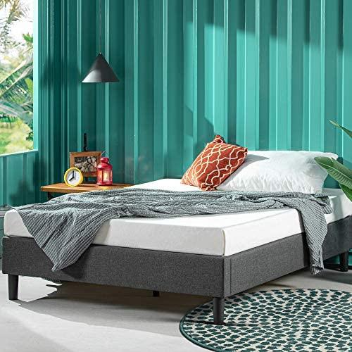 ZINUS Curtis Upholstered Platform Bed Frame / Mattress Foundation / Wood Slat Support / No Box Spring Needed / Easy Assembly, Grey, Full 51tuII6EVyL