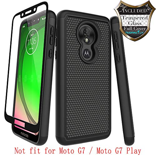 Moto G7 Power Case,Moto G7 Supra with [Tempered Glass Screen Protector] Nuomaofly Rugged Heavy Duty Shock-Absorption Protection (Black) (Power Case With Speaker)
