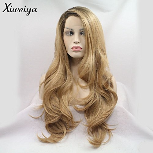 (Xiweiya Long Natural Wave Ombre Brown Blonde Synthetic Lace Front Wigs Side Part Heat Resistant Fiber Hair Wigs For Women Replacement Everyday Wigs (Blonde))