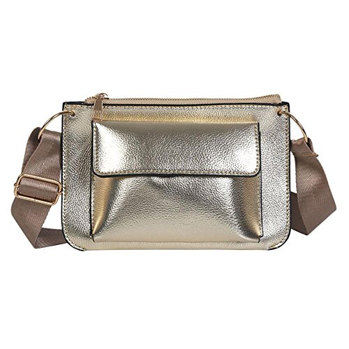 Glitter Women Champagne Leather Crossbody Messenger Shoulder Widewing Casual Pure Bags Bags aqdw1U