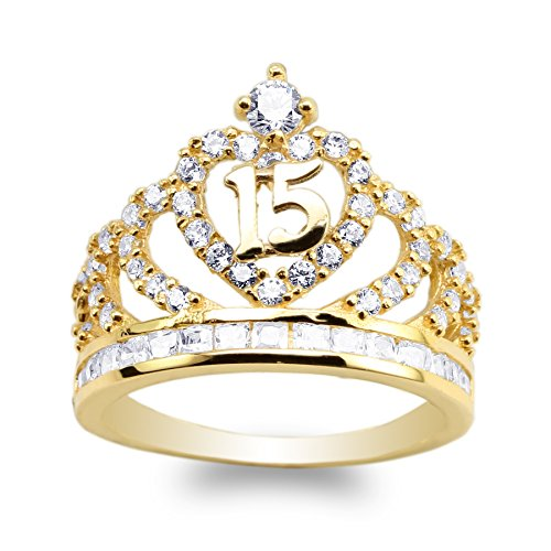 JamesJenny 14K Yellow Gold 15 Anos Quinceanera Crown Ring Size 8