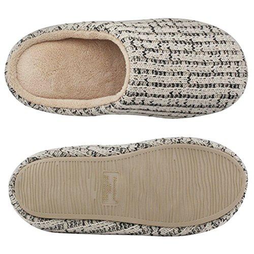 HomeTop - Zapatillas de estar por casa de algodón para hombre Beige