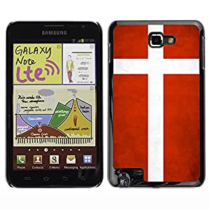 Paccase / SLIM PC / Aliminium Casa Carcasa Funda Case Cover - National Flag Nation Country Denmark - Samsung Note N7000