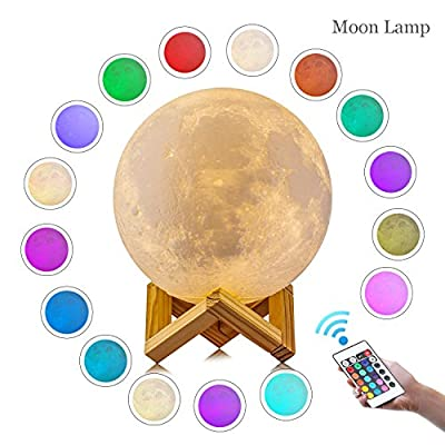 LOGROTATE Moon Lamp, 3D Print LED 16 Colors RGB Moon Light, 2018 Favorite Valentines Gifts Decorative Lights, Night Light with Remote&Touch Control and Adjustable Brightness&USB Recharge(5.9 inch) by LOGROTATE