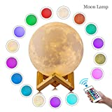 #8: LOGROTATE Moon Lamp, 3D Print LED 16 Colors RGB Moon Light, 2018 Favorite Valentines Gifts Decorative Lights, Night Light with Remote&Touch Control and Adjustable Brightness&USB Recharge(5.9 inch)