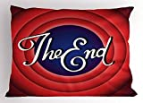 Lunarable 1950s Pillow Sham, Movie Ending Screen Academy Dated Broadcast Entertainment Show Oscar Cinema, Decorative Standard Queen Size Printed Pillowcase, 30 X 20 inches, Coral Royal Blue