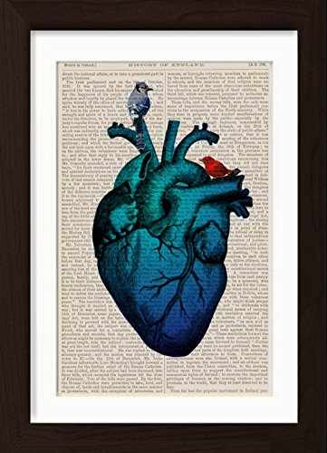 Anatomical Blue Heart With Birds Mounted/Matted Dictionary Page print
