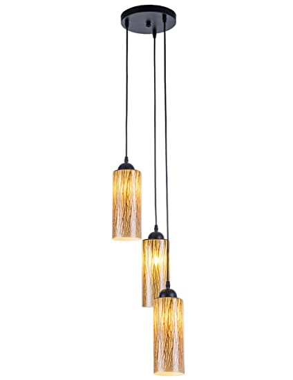 Riomasee 3 Cylinder Jar Pendant Light Semi Flush Mount Linear Ceiling Light  Wire Hanging Chandelier