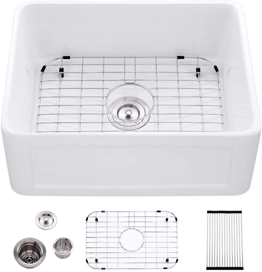 24 Fireclay Farmhouse Sink White Bokaiya White Kitchen Sink 24x18x10 Farm Style Apron Laundry Sink Extra Deep Porcelain Ceramic Single Bowl Fireclay Farmer Sink With Accessories Amazon Com