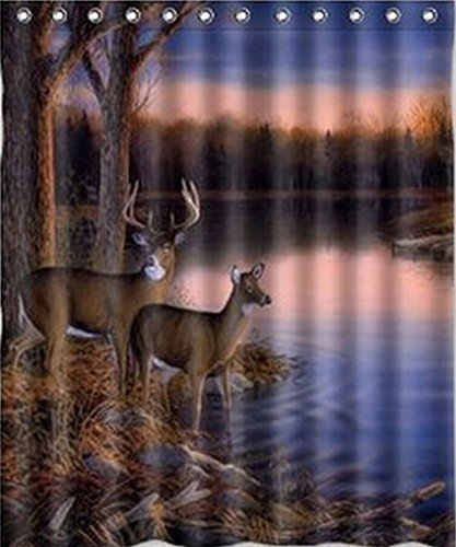Shower Curtain 72 X 72 Inches · Deer On The LakeShower Curtain60 X 72 Inches