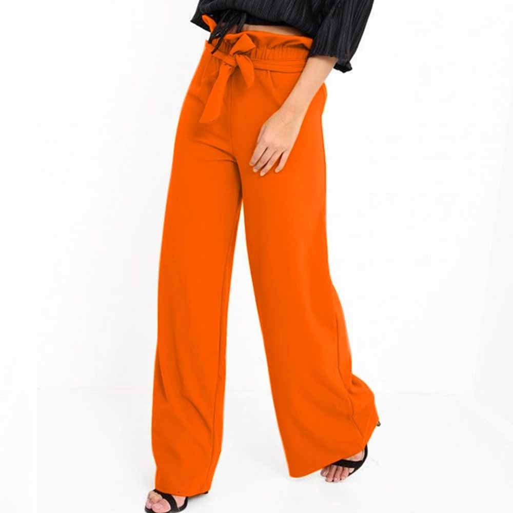 Pantalons Femme, Toamen Pantalons à larges jambes Vêtements pour femmes Taille haute Pantalon à volants à bretelles larges Taille S ~XL (XL, Orange)
