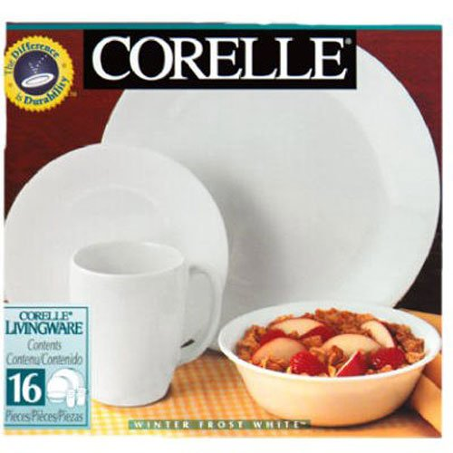 Corelle Livingware 16-Piece Dinnerware Set, Winter Frost White , Service for 4 [DISCONTINUED] (Center Piece Plate compare prices)