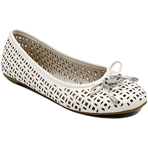Nautica Women's Cut Out Perforated Slip On Ballet Flats Casual Soft Dress Walking Shoes-Seaback-White-8