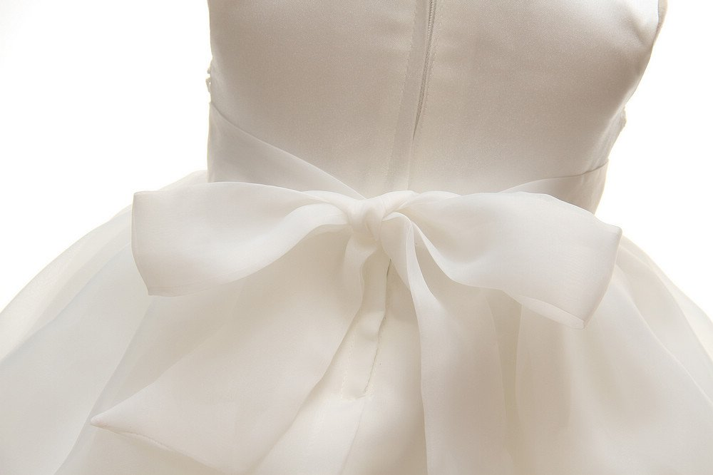 Baby Girls Dresses Christening Wedding Pageant Bow Formal Dress Ivory white (3M/0-6months) by Meiqiduo (Image #9)