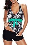 e cup swimwear - Papaya wear Womens Printed Halter Top and Boardshorts Tankini Swimsuit Geo 3XL