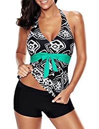 Papaya wear Halter Top V-neck Tankini Swimsuit with boardshort for Women