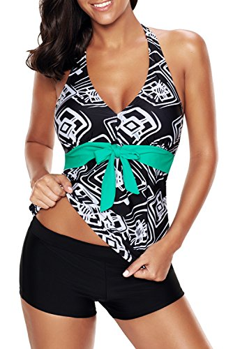 Papaya Wear Womens Printed Halter Tankini Top and Boyshorts Swimsuit Geo 4XL (Boyshort Tankini)