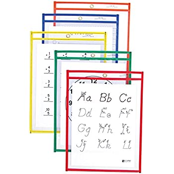 Amazon.com : C-Line Reusable Dry Erase Pockets, 9 x 12 Inches ...