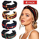4 Pack Hair Hoop with Bee Animal - Green Red Green Stripe Headbands - Cross Knot Hair bands with Cloth Wrapped for Women (A: 4pack headbands)