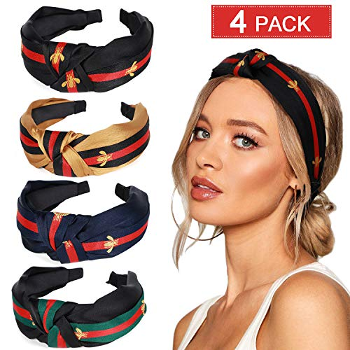 Headband Red Green - 4 Pack Hair Hoop with Bee Animal - Green Red Green Stripe Headbands - Cross Knot Hair bands with Cloth Wrapped for Women (A: 4pack headbands)
