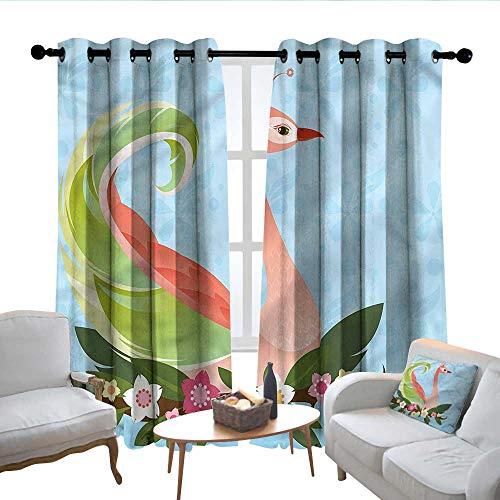 Lewis Coleridge Blackout Curtains 2 Panels Animal,Glamorous Female Swan Floral,for Room Darkening Panels for Living Room, Bedroom 52