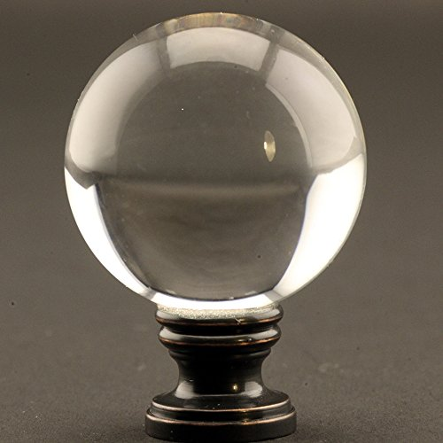Large Crystal Clear Ball 40mm (1.58'') Lamp Finial on Oil Rubbed Bronze base - 2 Inches High
