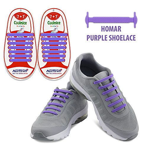 Homar No Tie Kid Shoelaces - Best in Sports Fan Shop - Silicon Elastic Shoe Laces with Multicolor to Choose Perfect for Any Size Kids Footwear - Purple (Footwear For Kids)