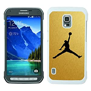 Galaxy S5 Active Phone Case,Logo Michael Jordan Gold White Pattern Cool Design Samsung Galaxy S5 Active Cover Case