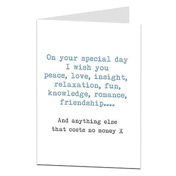 That Costs No Money Funny Sarcastic Birthday Card Amazon