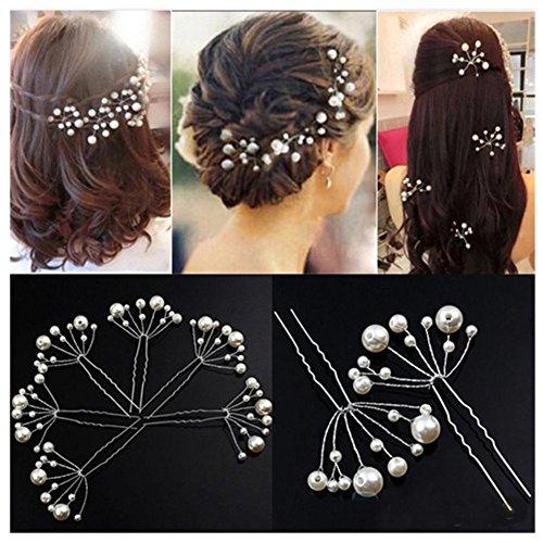 Lovef -10 Pcs Women's Fashion Wild U-Shaped Handmade Pearl Barrette Hair Pins Clips for Prom Wedding Bridal Bridesmaid