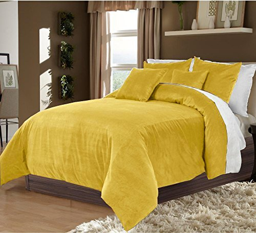 OnlineBestDeal's Soft & Ultra Plush Velvet 3 PCs Duvet Set with Zipper Closure and Cotton Backing (Gold,King/Cal King) ()