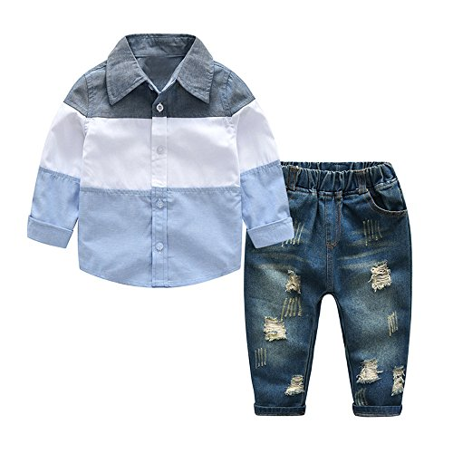Tem Doger Kids Clothing Outfit Boys Casual Long Sleeved Striped Shirt and Denim Jeans Sets (Blue, 140/7T) Boys Long Sleeved Twill Shirt