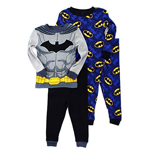 Batman Boys 2fer 4 pc Cotton Pajamas (Grey/Blue Batman Costume, (Batman Costumes Pajamas)