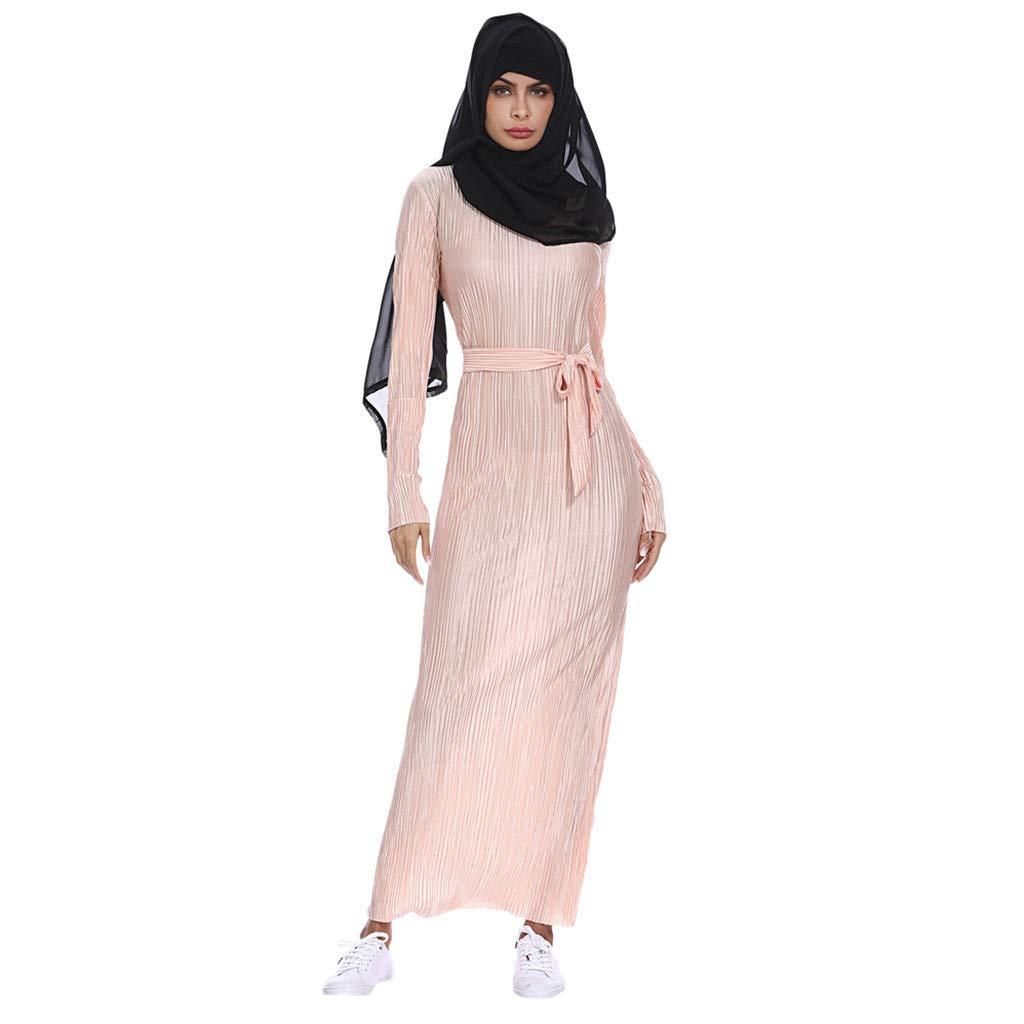 OPTIMIS Muslim Women Dress Long Sleeve Summer Print Trumpet Sleeve Swing Dress