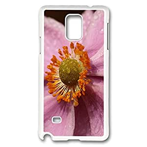 VUTTOO Rugged Samsung Galaxy Note 4 Case, Macro Purple Flower Case for Samsung Galaxy Note 4 N9100 PC White