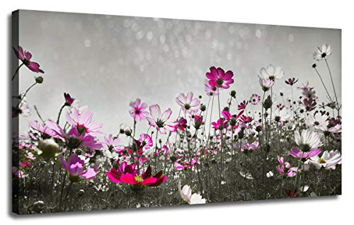 Canvas Wall Art Flower Colorful Painting Prints One Panel Large Landscape Picture, Grey Flash Sky Modern Nature Wildflowers Artwork Framed for Living Room Bedroom Kitchen Bathroom Home Office Décor