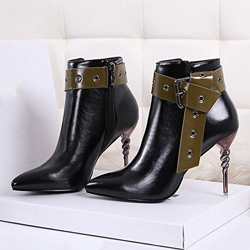 HSXZ Zapatos de mujer polipiel primavera otoño Comfort Novedad Bootie Botas Stiletto talón Hollow-out para bodas ocasionales de vino negro Black
